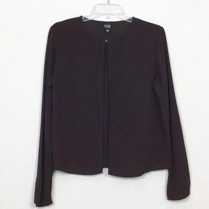 Eileen Fisher Tops - Eileen Fisher Silk Eggplant One Button Cardigan